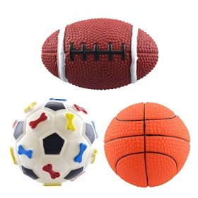 Dogloveit Rubber Sport Ball Squeaky Toy for Puppy Dog Cat, 3-Pack (Soccer,Basketball,Football)