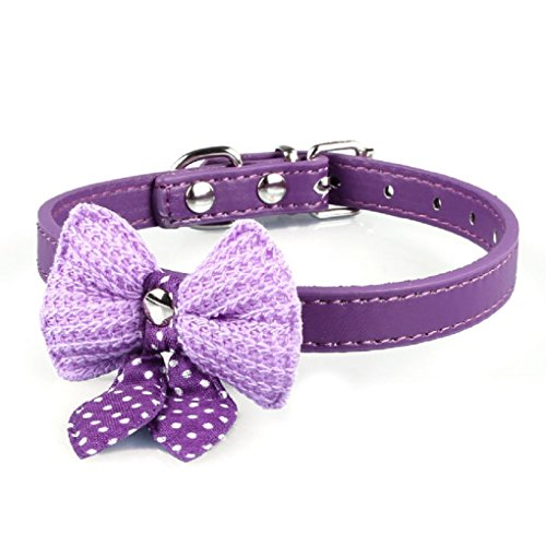 Shensee Beautiful New Knit Bowknot Adjustable PU Leather Dog Puppy Pet Collars Necklace (purple)