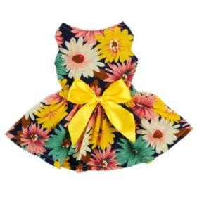 Fitwarm® Pet Elegant Floral Ribbon Dog Dress Shirt Vest Sundress Clothes Apparel, Large