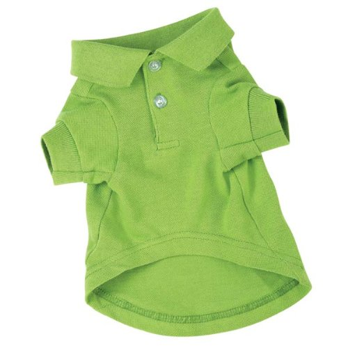 Zack & Zoey Cotton Polo Dog Shirt, Medium, 16-Inch, Parrot Green