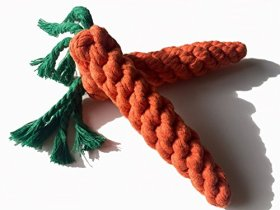 Reelok Pet Dog Puppy Cat Chewing Rope Carrot Shaped Molar Cotton Knot Clean Teeth Healthy Teeth Chew Fun Toy Easter Toy
