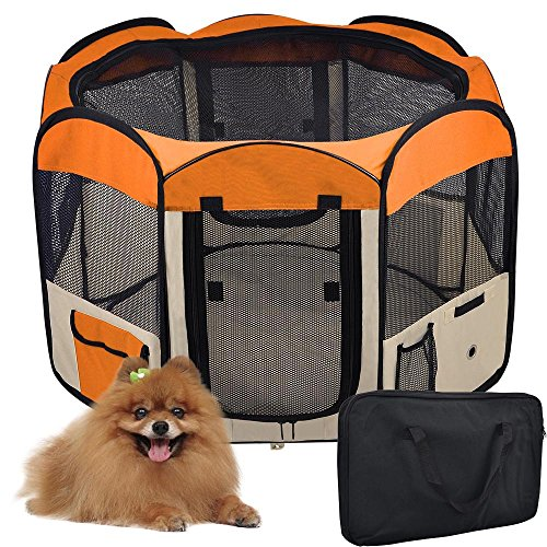 56″ Large 2-Door Waterproof 600D Oxford Cloth Pet Playpen Dog Puppy Tent Exercise Kennel