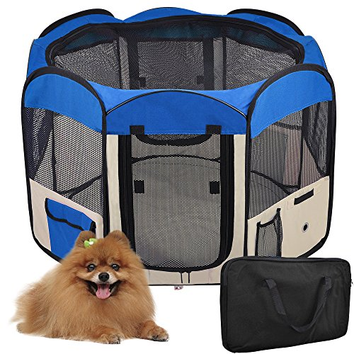 48″ Blue Large 2-Door Waterproof 600D Oxford Cloth Pet Playpen Dog Puppy Tent Exercise Kennel