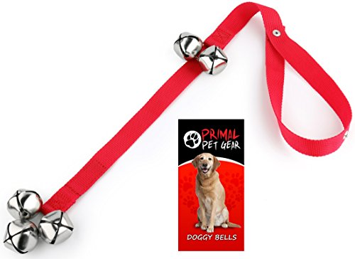 Primal Pet Gear Dog Bells for Potty Training Your Puppy the Easy Way – Premium Quality – 5 Extra Large Loud 1.4″ DoorBells – Tough Nylon – Adjustable Door Bell Length for Small, Medium and Large Dogs