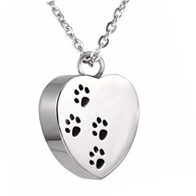 AMIST Remember Me Heart Dog Paw Prints Pets Cremation Jewelry Pendant Necklaces (Silver)