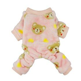 Fitwarm Pink Sweetie Bear Dog Pajamas Pet Winter Coat Cozy Velvet Clothes, Medium