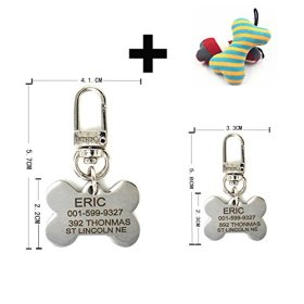 Pething Stainless Steel Dog Id Tag Attaching Pething Hook Free Bone Toys Gift Free Engraving on Front and Back Text Four Shapes Two Sizes Pet Id Tags