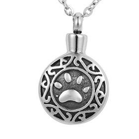 VALYRIA Memorial Jewelry Pet/Dog Paw Round Urn Keepsake Cremation Ashes Necklace