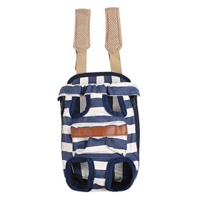 FantasticBaby Pet Legs Out Travel Front Style Canvas Stripe Dog Puppy Cat Carrier Bag Backpack 4Sizes M