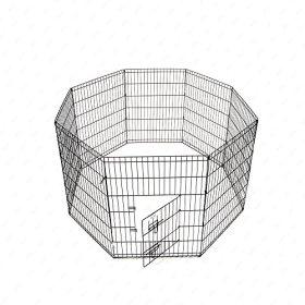 M.M 8 Panel Pet Playpen Dog Cage Kennel Crate Metal Enclosure Fence Black 24 Inch