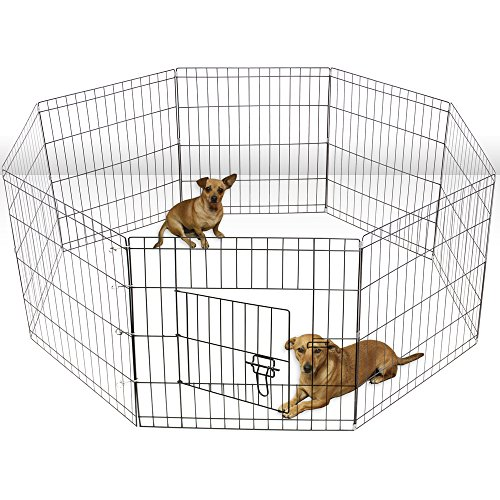 Oxgord Dog Animal Playpen Large Metal Wire Folding Exercise Yard Fence 8 Panel Popup Kennel Crate Fence Tent Portable – Black – Premium Quality – 2015 Newly Designed, 36 Inches