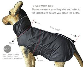 PetCee Waterproof 100% Polyester- Fleece Lined Jacket Reflective Dog Jacket Loft Dog Coat Climate Changer Fleece Jacket (Black XXXL)