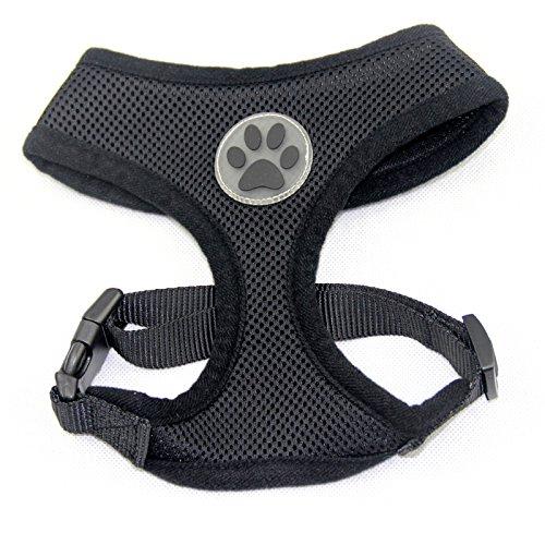 BINGPET BB5001 Soft Mesh Dog Harness Pet Walking Vest Puppy Padded Harnesses Adjustable , Black Small