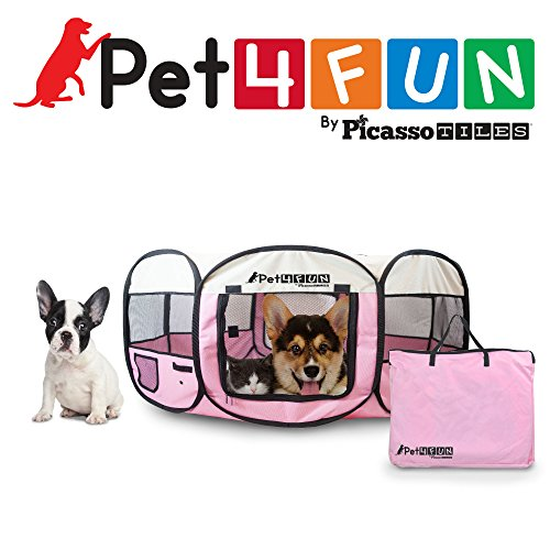 PET4FUN® PN935 35″ Portable Pet Puppy Dog Cat Animal Playpen Yard Crates Kennel w/ Premium 600D Oxford Cloth, Tool-Free Setup, Carry Bag, Removable Security Mesh Cover/Shade, 2 Storage Pockets (PINK)