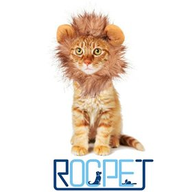 Rocpet Pet Costume Lion Mane Wig for Dog Cat Halloween Dress up with Ears (lion)