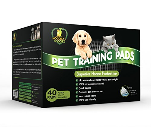 Superior Puppy Pads and Dog Training Pad from Moggiez & Doggiez with Quick-dry 5 in 1 Layer Technology – Perfect for Puppy Housebreaking & Mature Pets, FREE ebook, Large (24″x24″)