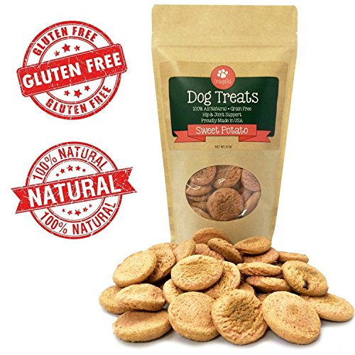 Grain Free Dog Treats – 10 Calorie, Human-Grade Puppy Training Treats + Glucosamine for Joint Health – Bite-Size Oven-Baked Dog Biscuits Made in USA – Sweet Potato, Peanut Butter, or Mint Flavor