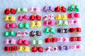 Yagopet 50pcs/pack Dog Puppy Hair Bows Rubber Bands Tinny Bows for Puppy Dogs Cute Pet Small Topknot Bows with Rhinestones Mix Colors Pet Dog Grooming Bows Dog Hair Accessories