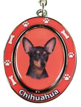 """Chihuahua, Black and Tan Key Chain """"Spinning Pet Key Chains""""Double Sided Spinning Center With Chihuahuas Face Made Of Heavy Quality Metal Unique Stylish Chihuahua Gifts"""