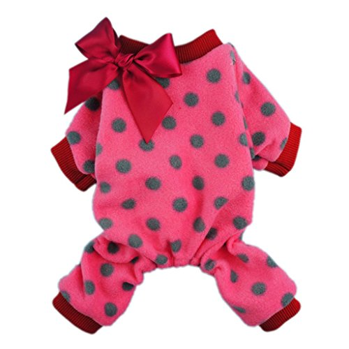 Fitwarm Cute Ribbon Polka Dots Fleece Pet Dog Coats Pajamas Soft Pjs Winter Clothes, Large
