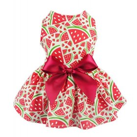 Fitwarm Sweetie Watermelon Pet Clothes for Dog Dress Sundress Shirts – Red – Small