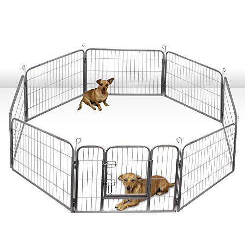 Oxgord Heavy Duty Metal Pet Dog Folding Exercise Playpen yard Wire Fence 8 Panel, 32 Inches