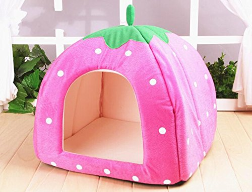 BE GOOD Lovely Strawberry Puppy Cat Warm House Plush Cozy Nest Mat Pad Pet Nest Dog Cat Bed Foldable Medium and Large