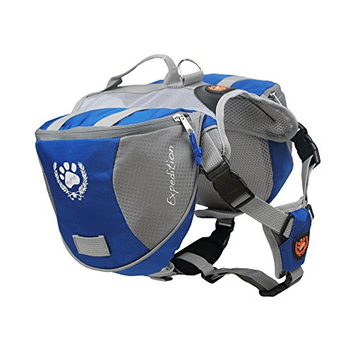 Fosinz Outdoor Dog Adjustable Backpack with Reflective Strip Dog for Dog Backpack Travel Hiking Camping(M)