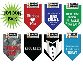 7 PACK BANDANAS – Boy Dog Pack, One Size Fits Most for Medium to Large Dogs