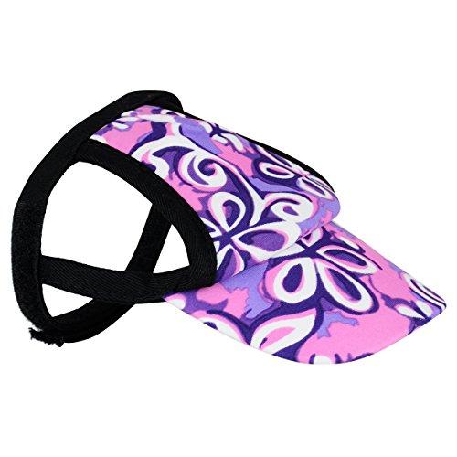 PlayaPup Sun Protective Dog Visor, Floral Swirl Purple, Large