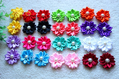 Yagopet 40pcs/pack 20pairs Cute New Dog Hair Bows with Rubber Bands Pearls Flowers Topknot Mix Styles Dog Bows Pet Grooming Products Mix Colors Pet Hair Bows Topknot
