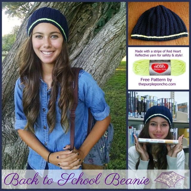 Back to School Beanie - Red Heart yarn - by The Purple Poncho 2014