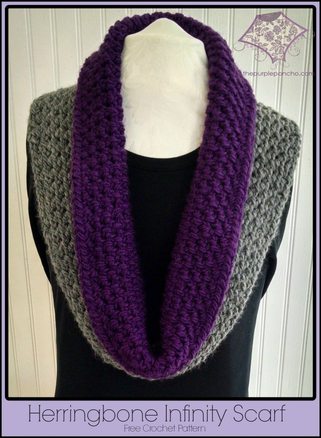 Herringbone infinity scarf a free crochet pattern the purple poncho herringbone infinity scarf free crochet pattern the purple poncho dt1010fo