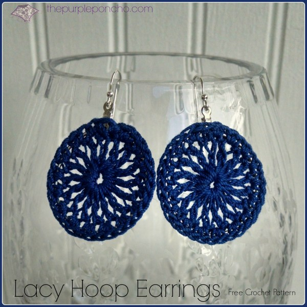 Royal Blue Lacy Hoop Earrings A Free Crochet Pattern by The Purple Poncho
