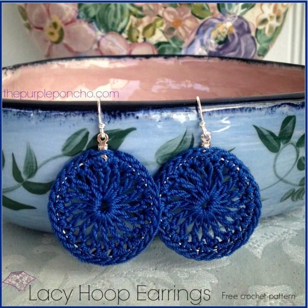 Lacy Hoop Earrings A Free Crochet Pattern The Purple Poncho