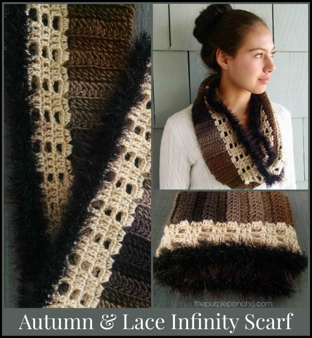 Autumn & Lace Infinity Scarf pattern design by Carolyn Calderon