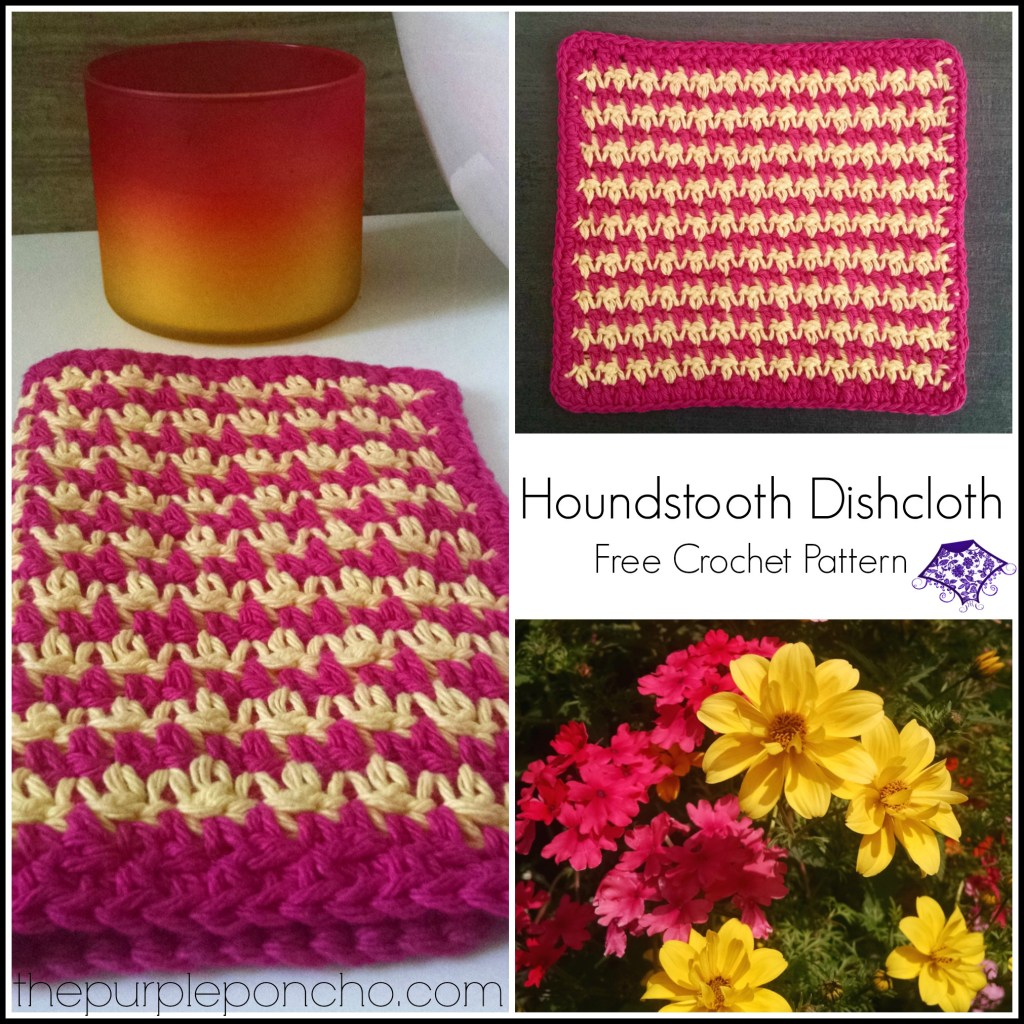 Pink and Yellow Houndstooth Dishcloth Crochet Pattern by The Purple Poncho