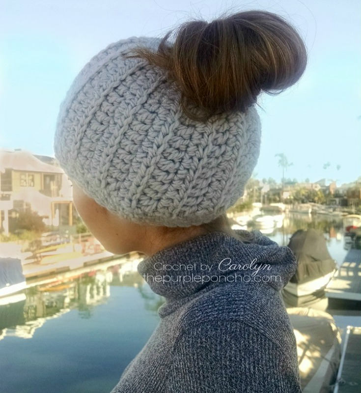 Messy Bun Hat - Free Crochet Pattern