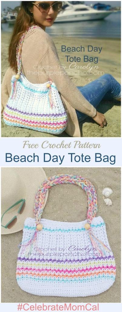 Beach Day Tote Bag Free Crochet Pattern The Purple Poncho