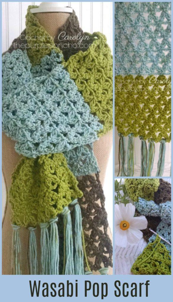 Wasabi Pop Scarf Free Crochet Pattern The Purple Poncho