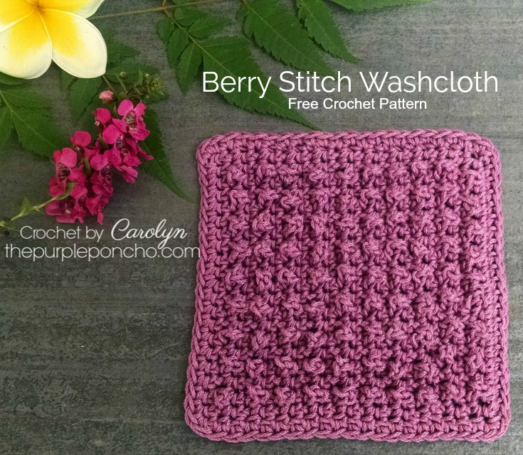Berry Stitch Washcloth Free Crochet Pattern The Purple Poncho