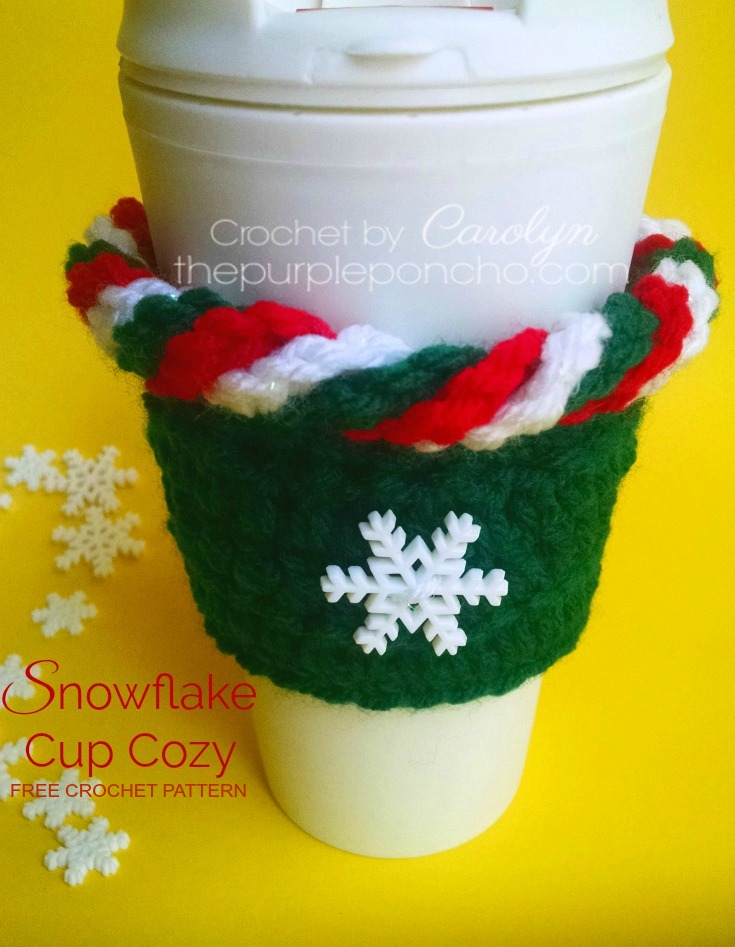 Snowflake Cup Cozy Free Crochet Pattern The Purple Poncho