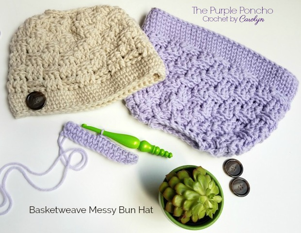 Basketweave Messy Bun Hat Free Crochet Pattern The Purple Poncho