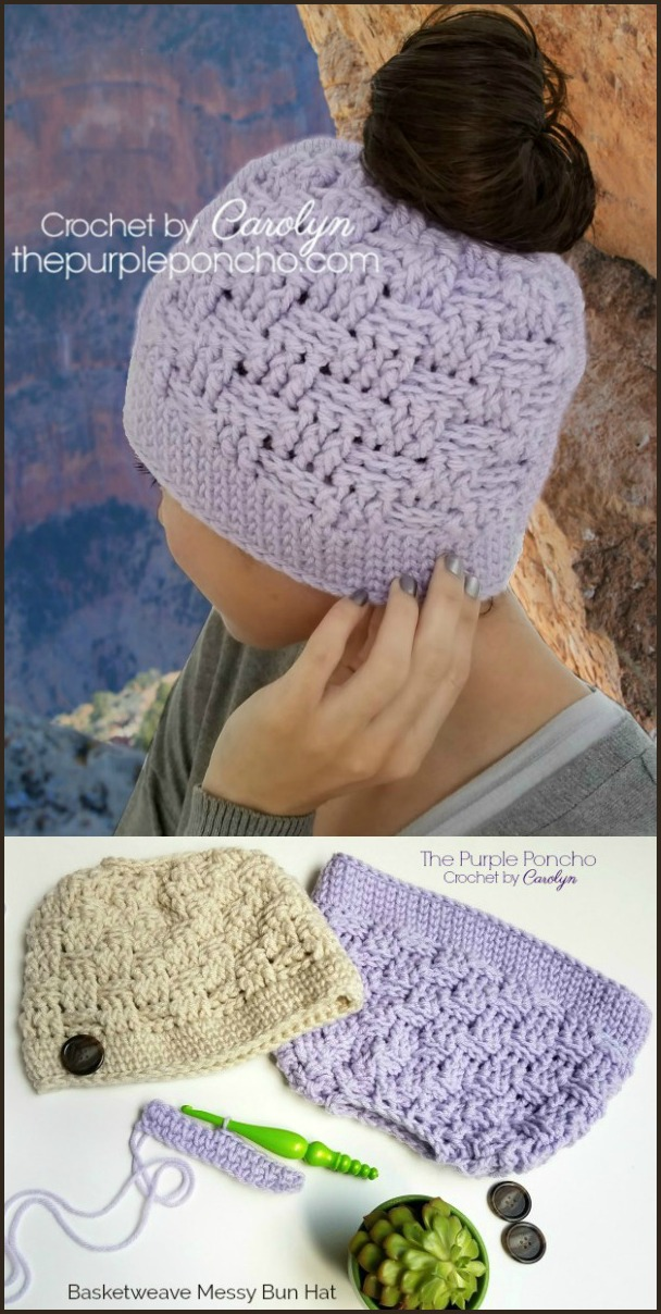 fc5c0af750c Basketweave Messy Bun Hat - Free Crochet Pattern - The Purple Poncho
