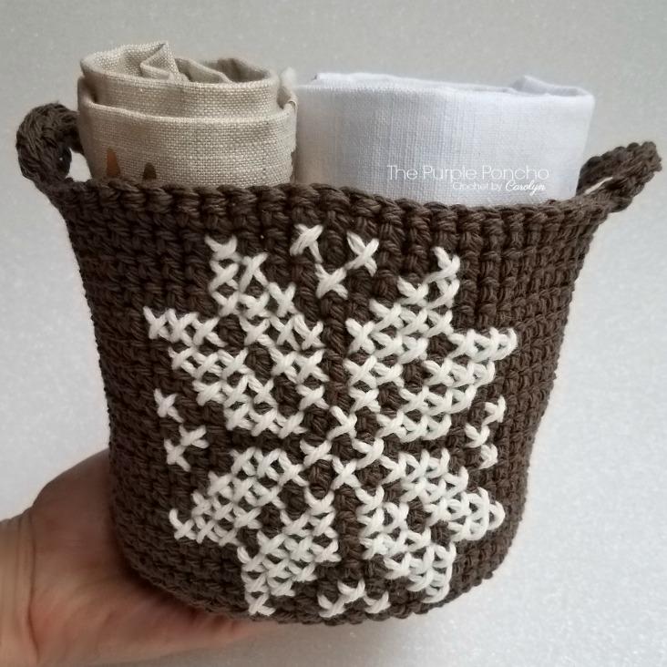 Snowflake Basket Free Crochet Pattern The Purple Poncho