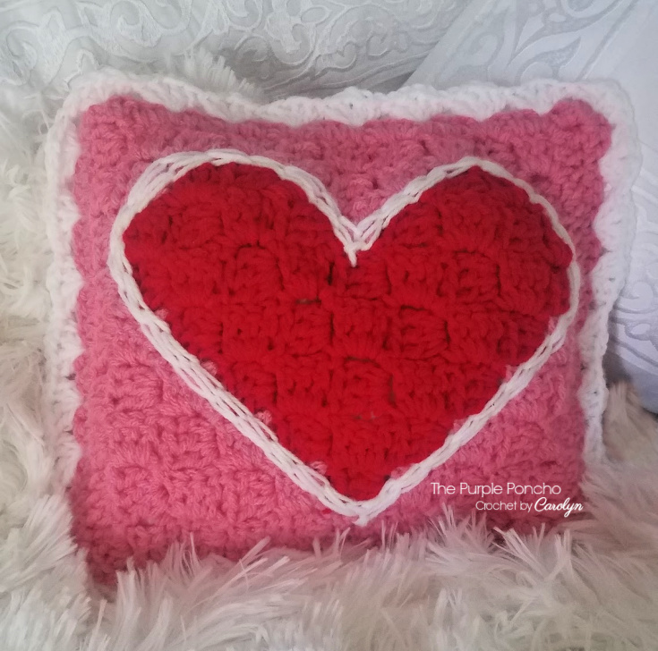 Be Mine C2c Heart Pillow Free Crochet Pattern The Purple Poncho