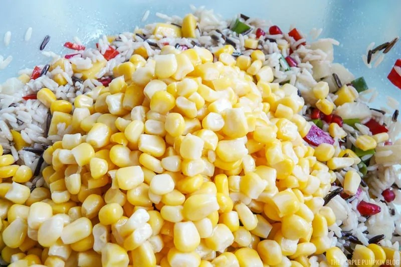 Sweetcorn added to rice