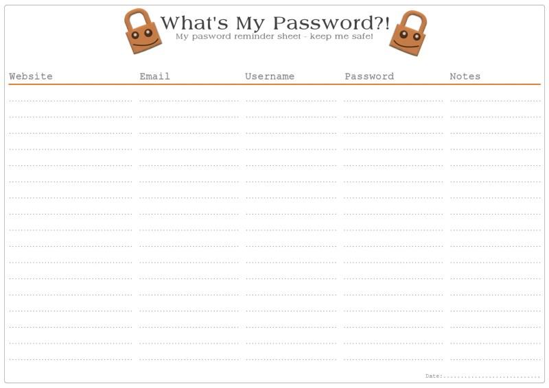 Password Remind Free Printable - Orange