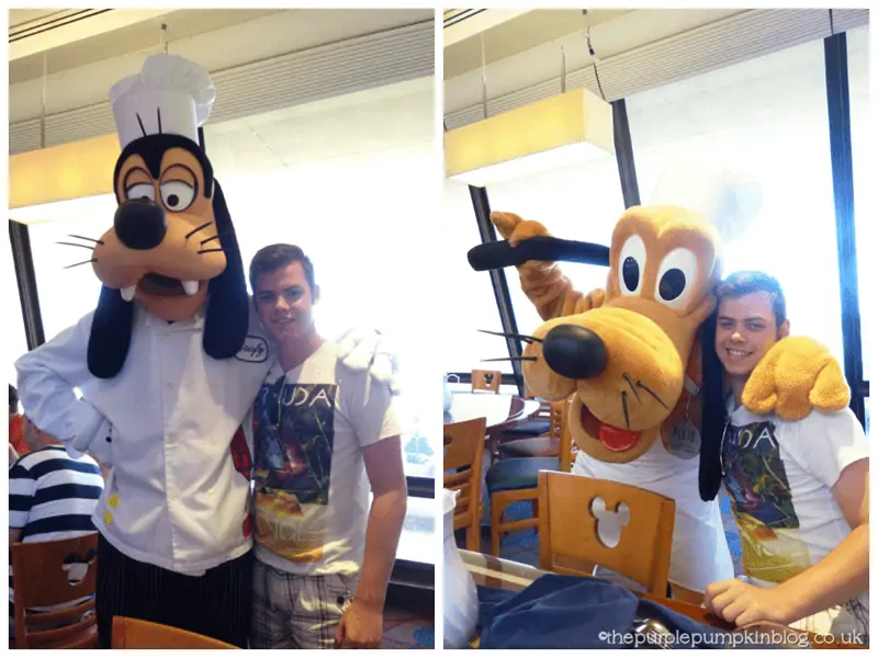 Meeting Goofy and Pluto at Chef Mickeys