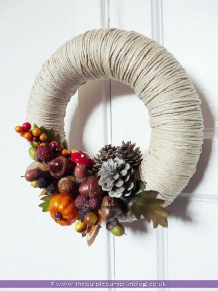 Homemade Autumn Fall Wreath